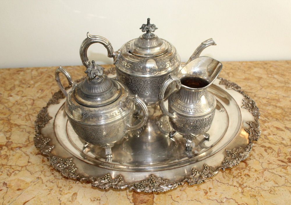 & French Silver Plated Tea Set with Tray