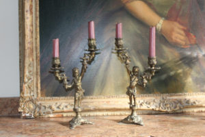 Brass French Candlesticks Antique : The French Antique Store