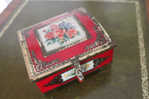 French Vintage Red Tin Box wwith roses: The French Antique Store
