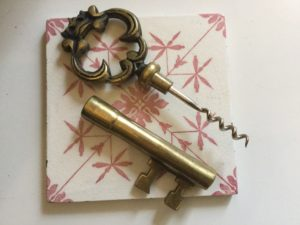 French Brass Key Corkscrew Open : The French Antique Store
