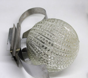 French Urchin Glass and Chrome Wall Sconce Pair The French Antique Store