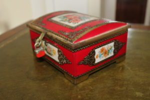 French Vintage Red Tin Box with roses : The French Antique Store