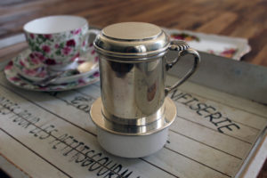 Silver Plated Dubelloire French Antique Coffee Cup Filter Ceramic