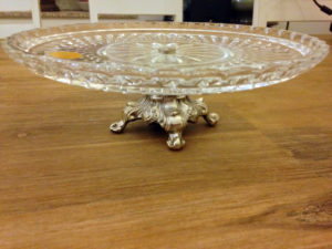 Crystal Cake Plate metal base : The French Antique Store
