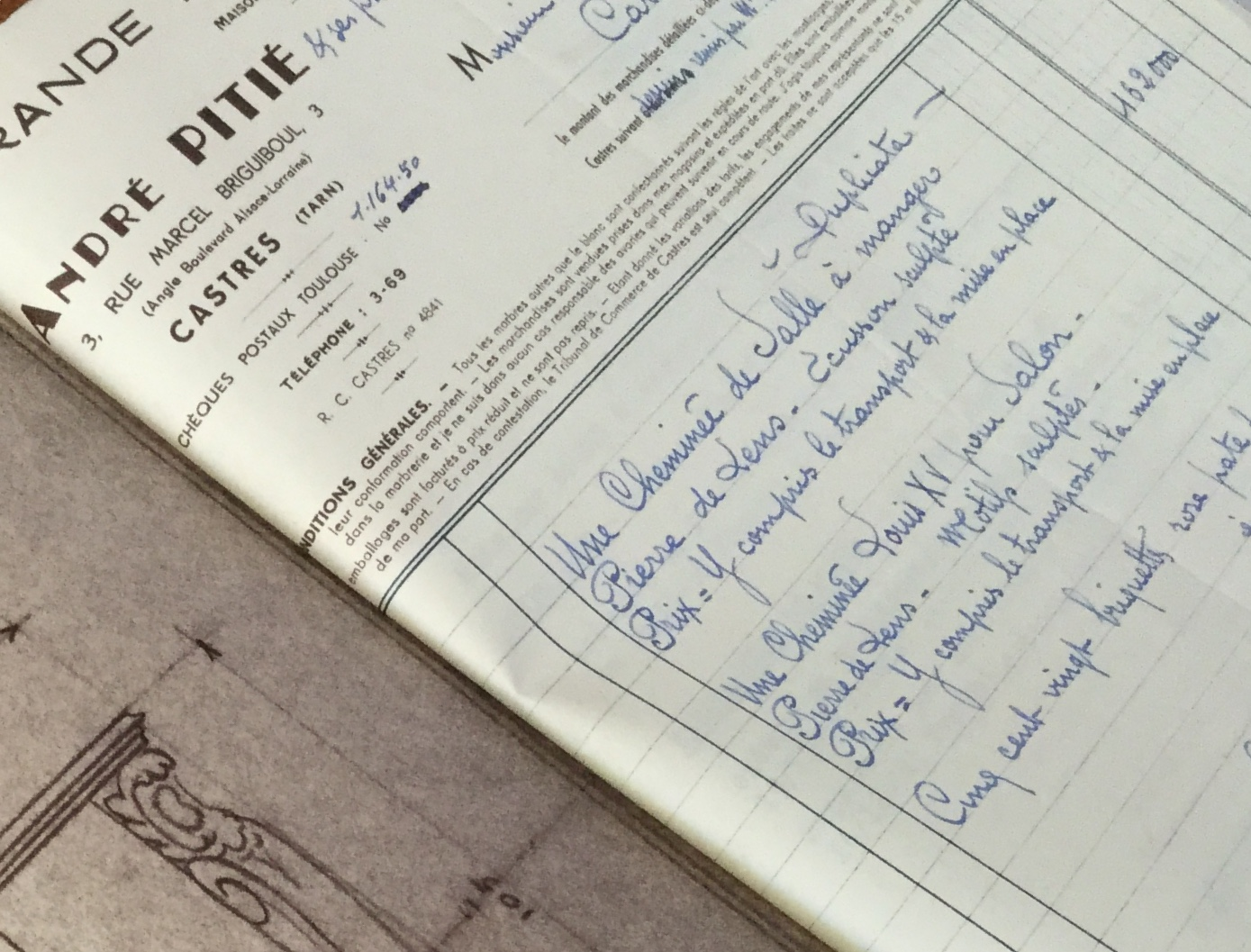 1958 original receipt for marble fireplace from Marbrerie Pitie in Castres
