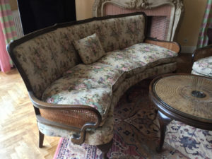 20th C French Bergere Suite Caned Suite Original Tapestry Upholstery 3