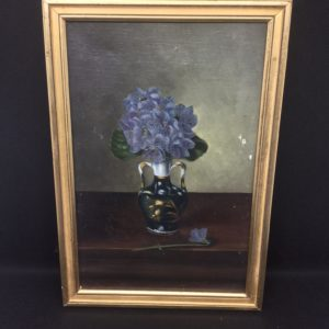 French Oil on canvas flowers in vase 16.5x24cm