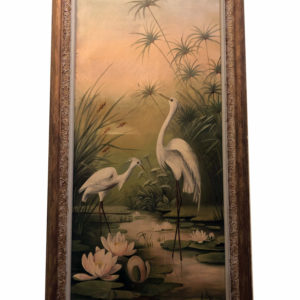 Victorian Oil Painting White Egrets or Herons in a river scene with lillies and grasses