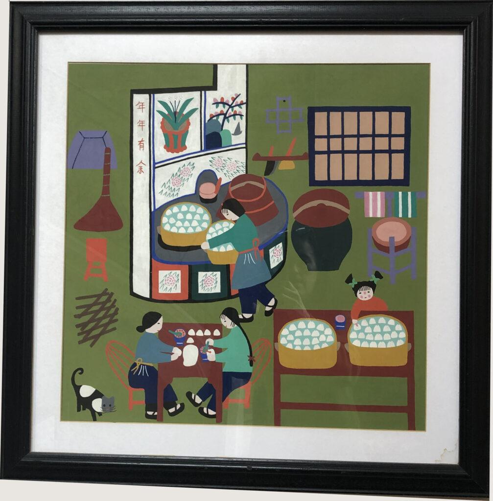 Jinshan-peasant-painting-dumpling-preparation-family-meal-traditional