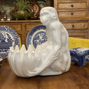 Bellini Italian 1960s Monkey Majolica White Porcelain French Antique Store 1