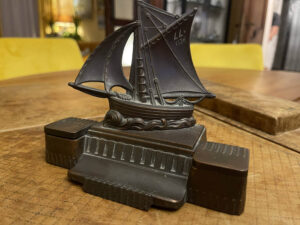 French Cutter Sailboat Inkwell and Penholder LL1136 Paris 1920s 1