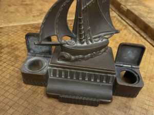 French Cutter Sailboat Inkwell and Penholder LL1136 Paris 1920s 3