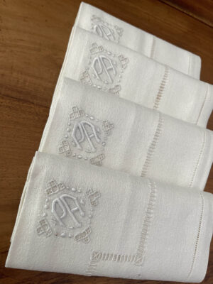 French linen tablecloth napkins set antique 3