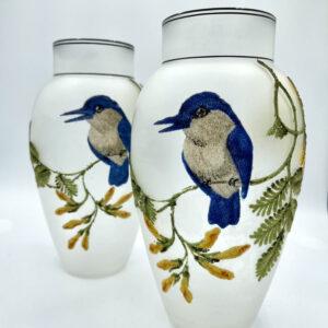 Pair Coralene Glass Vases Bluebirds France 1