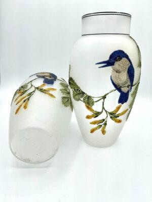 Pair Coralene Glass Vases Bluebirds France 2