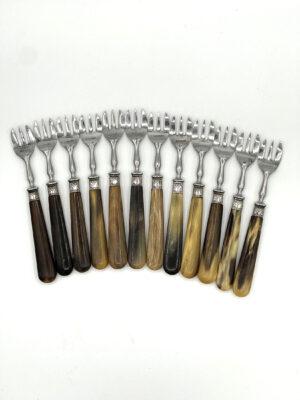 12 French Oyster Forks Bakelite Handles 1950s 1