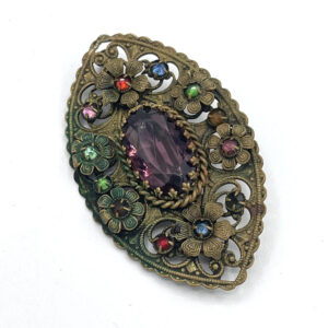Brass Filigree Brooch 1920s Rhinestones The French Antique Store 1