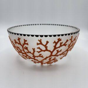 Coralene Bowl 1925 Goldberg Bohemian Glass Antique 1